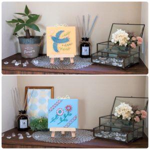 【ご縁を引き寄せる!】まち針ストリングアート「幸せの青い鳥」と「花のお便り」